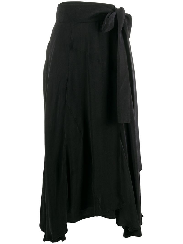 Maison Flaneur asymmetric tie waist skirt in black