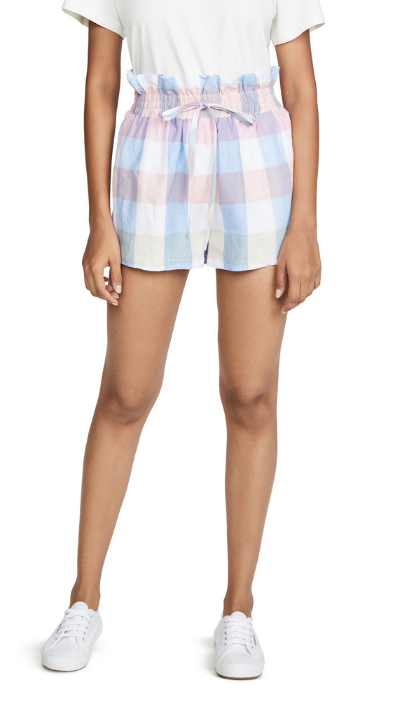 ENGLISH FACTORY Gingham Ruffle Shorts in multi
