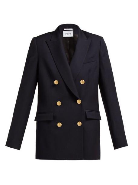 Pallas X Claire Thomson-jonville - Epsom Double Breasted Wool Grain De Poudre Blazer - Womens - Navy