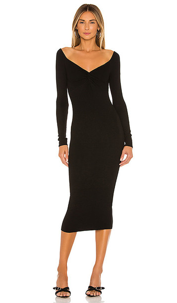Enza Costa Off The Shoulder Twist Midi Dress in Black