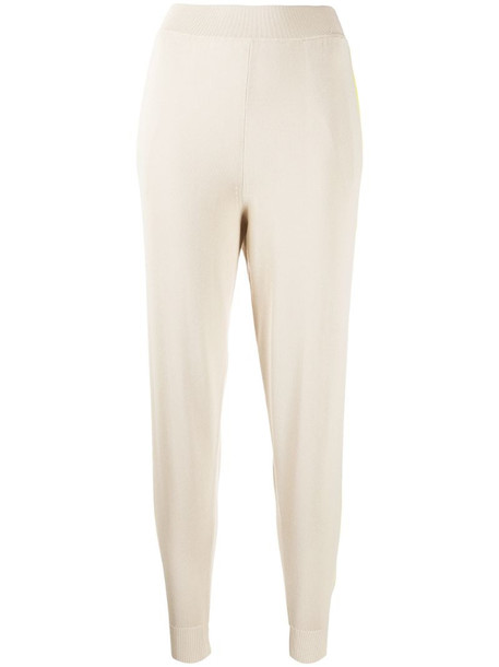 Stella McCartney high-waisted knitted track pants in neutrals