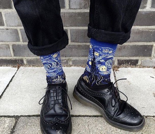 socks van gogh soft grunge DrMartens shoes art
