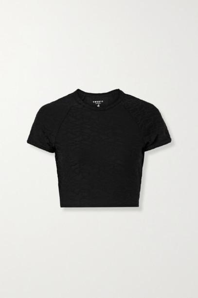 TWENTY Montréal - Connect 3d Cropped Stretch Jacquard-knit T-shirt - Black