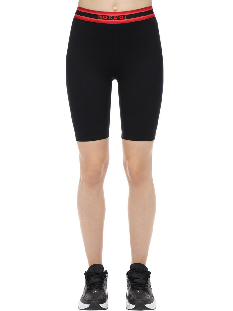 NO KA'OI Nightfall Stretch Techno Biker Shorts in black / red
