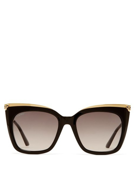 Cartier Eyewear - Panthére De Cartier Acetate Oversized Sunglasses - Womens - Gold