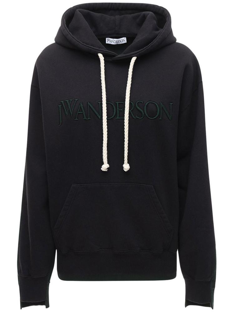JW ANDERSON Logo Cotton Jersey Fleece Hoodie in black / green