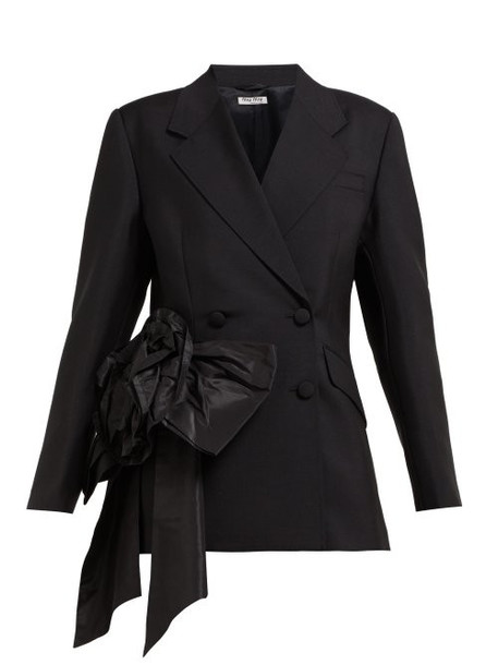 Miu Miu - Floral Organza Mohair And Wool Blend Blazer - Womens - Black