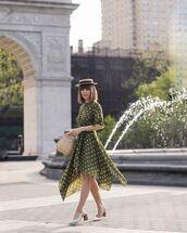 dress,asymmetrical dress,green dress,short sleeve dress,polka dots,slingbacks,handbag,hat