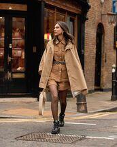 jacket,oversized jacket,trench coat,tights,black boots,shorts,bag
