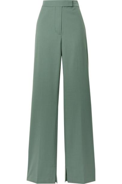 3.1 Phillip Lim - Wool-blend Crepe Flared Pants - Gray green
