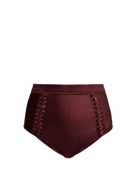 Zimmermann - Button Detail Bikini Briefs - Womens - Burgundy