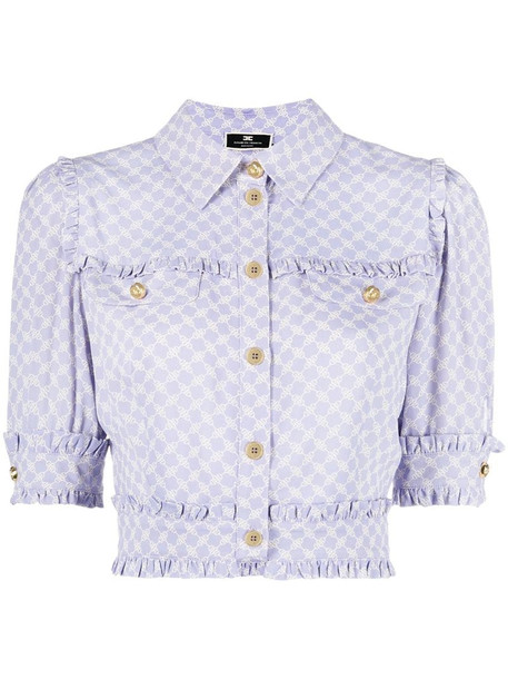Elisabetta Franchi horsebit-print short-sleeve cropped shirt in purple