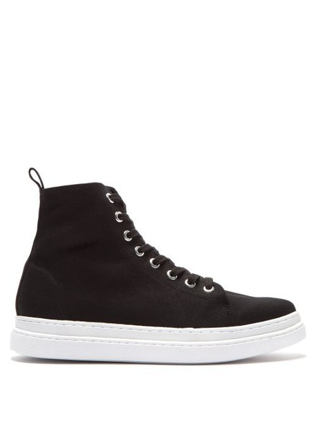 Junya Watanabe - Almond Toe Canvas High Top Trainers - Womens - Black