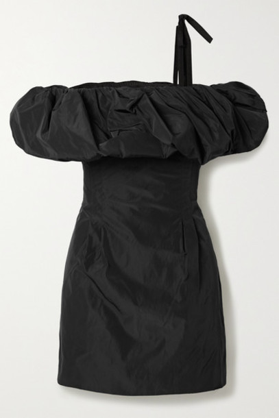 BLOUSE - Scandal's Bride Off-the-shoulder Taffeta Mini Dress - Black