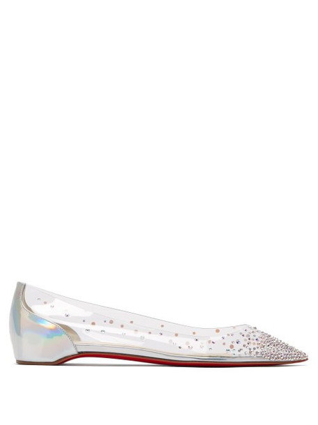 Christian Louboutin - Degrastrass Crystal Embellished Pvc Pumps - Womens - Silver