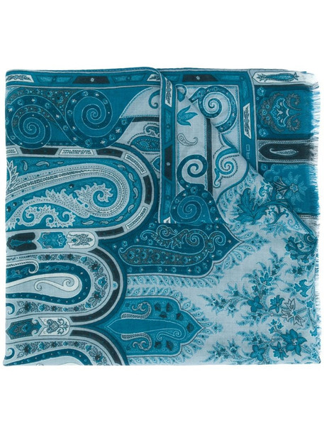 Etro paisley print cashmere scarf in blue