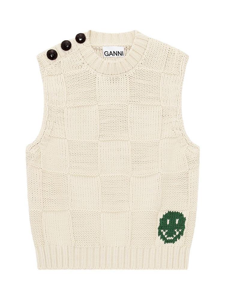 GANNI Cotton Blend Rope Knit Vest