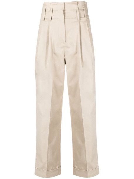 Brunello Cucinelli paperbag waist cropped trousers in neutrals