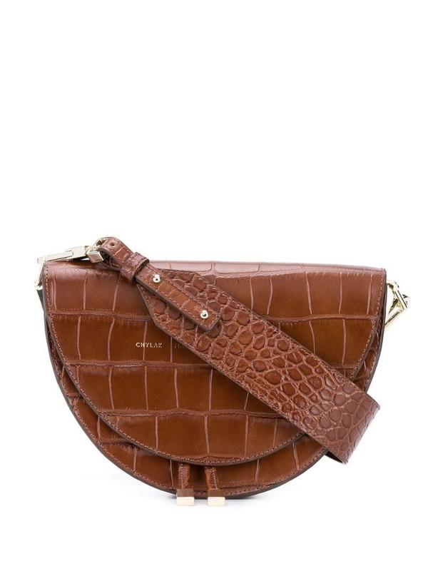 Chylak Saddle croc-embossed bag in brown