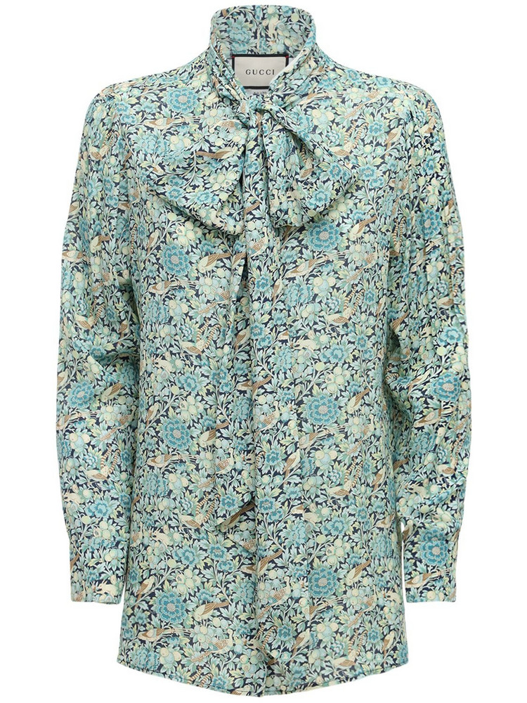 GUCCI Liberty Printed Crepe Shirt W/ Bow in blue