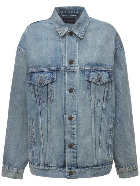 BALENCIAGA Oversize Cotton Denim Jacket in blue