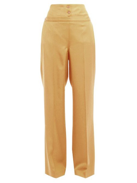Jil Sander - Greg High Waist Cotton Trousers - Womens - Beige