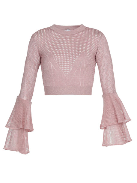 self-portrait Cropped Sweater in pink