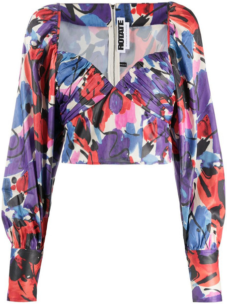 ROTATE abstract-print puffy crop-top in blue