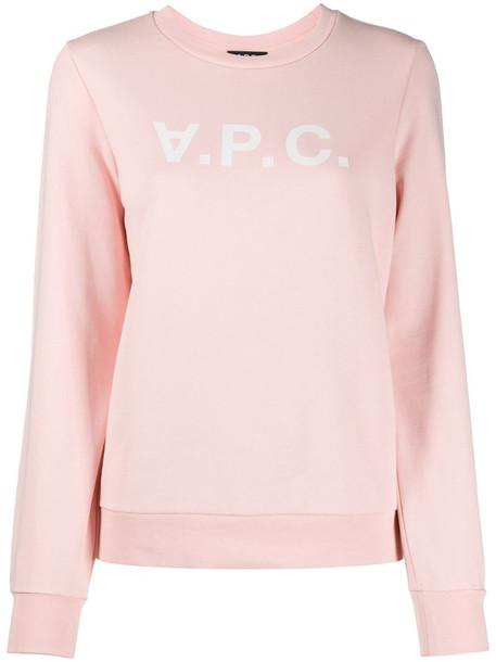 A.P.C. logo print sweatshirt in pink