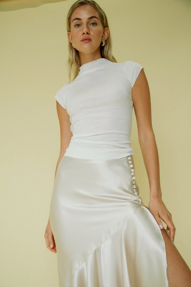 The Line by K Reese Mock Neck Top White