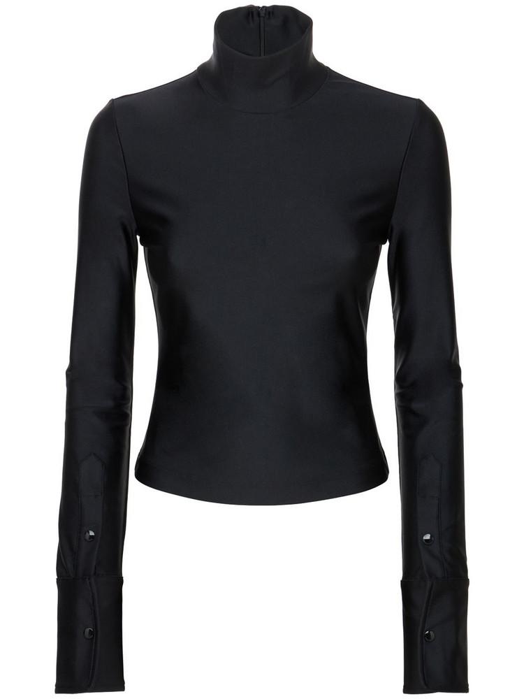 ALEXANDER WANG Jersey Turtleneck Top in black