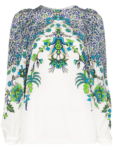 Givenchy floral print silk blouse in white