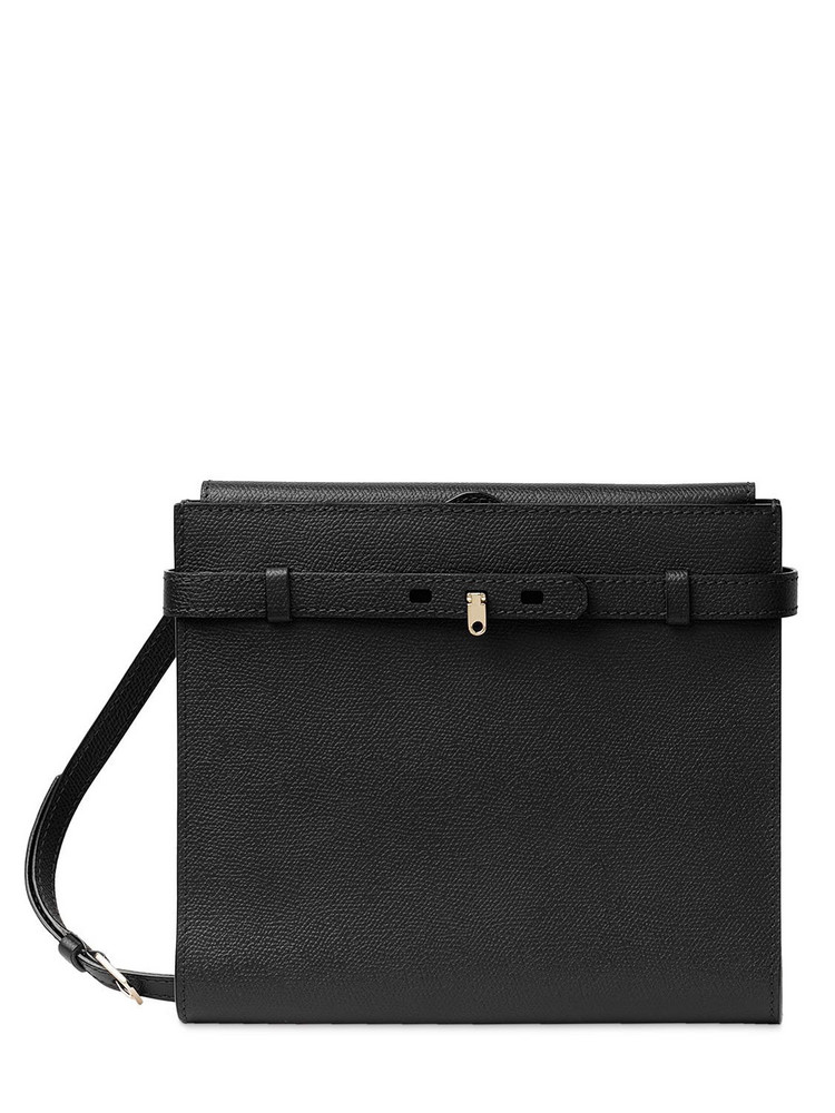 VALEXTRA B-tracollina Grained Leather Bag in black