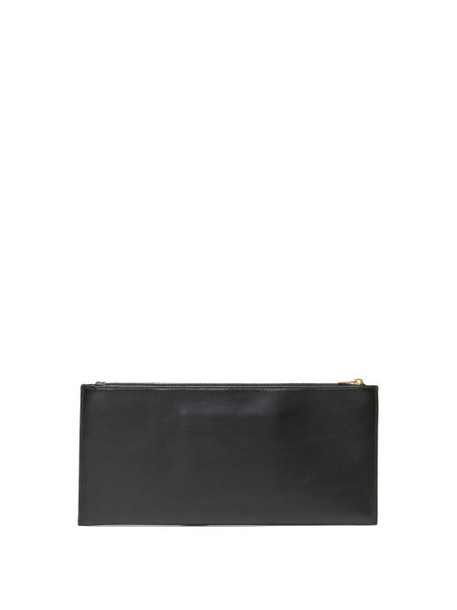 The Row - Logo Debossed Rectangular Leather Clutch Bag - Womens - Black
