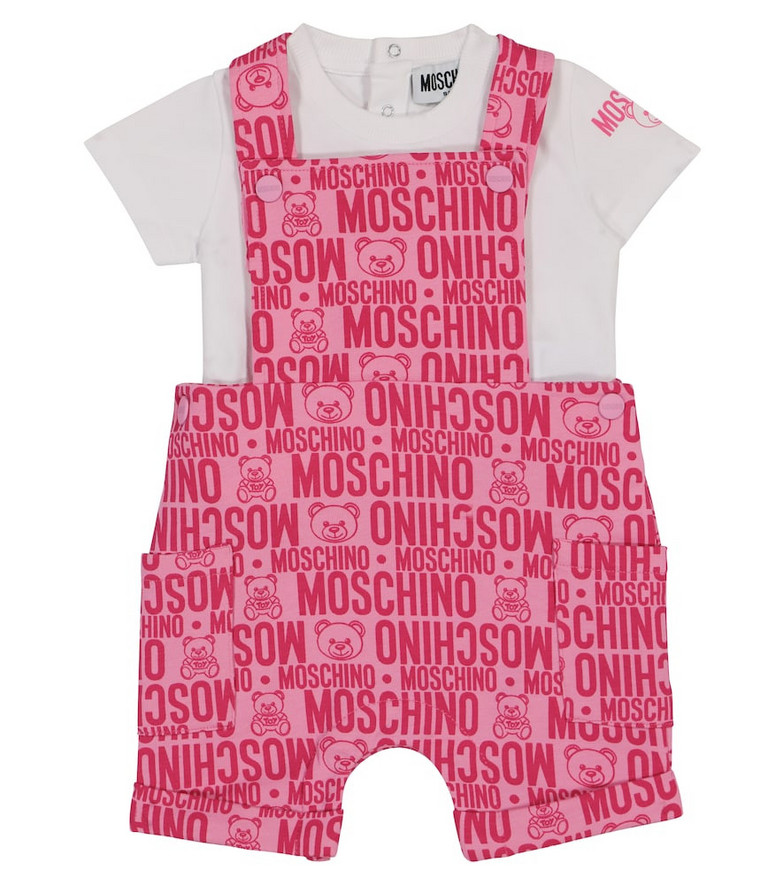 Moschino Kids Baby stretch-cotton t-shirt and overalls set in pink