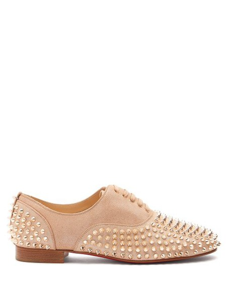 Christian Louboutin - Freddy Studded Leather Derby Shoes - Womens - Nude Gold
