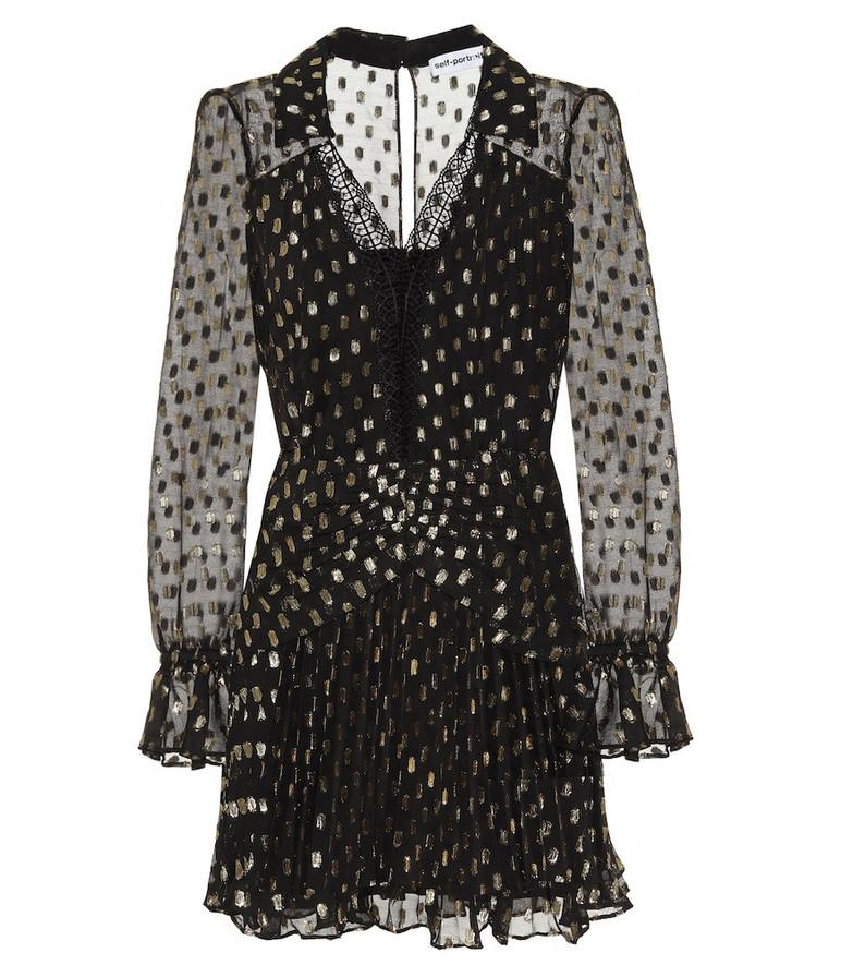 Self-Portrait Polka-dot fil-coupé minidress in black