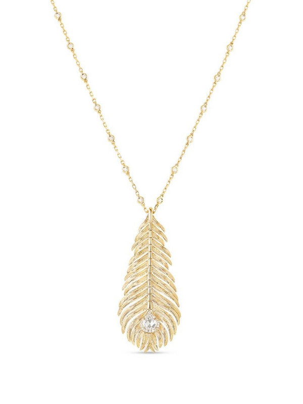 Boucheron 18kt yellow gold diamond Plume de Paon pendant necklace