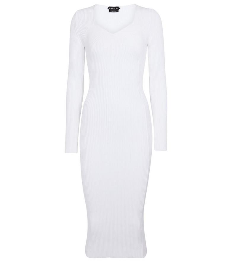 Tom Ford Ribbed-knit midi dress in white