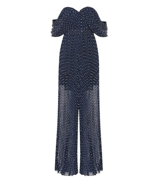 Self-Portrait Off-the-shoulder polka-dot jumpsuit in blue