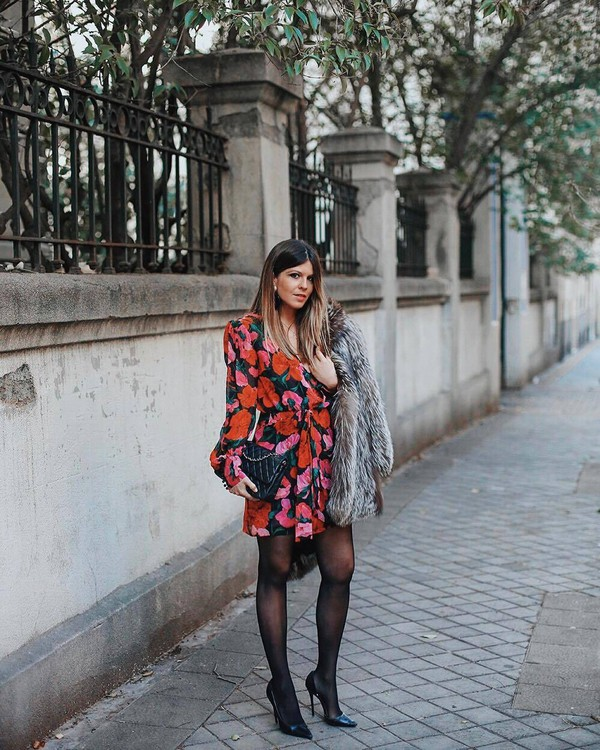 dress mini dress floral dress long sleeve dress tights pumps black bag chanel bag faux fur coat