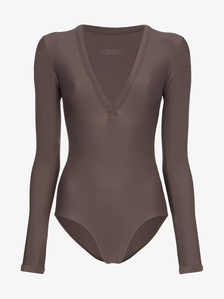 Matteau Maillot long sleeve swimsuit in brown