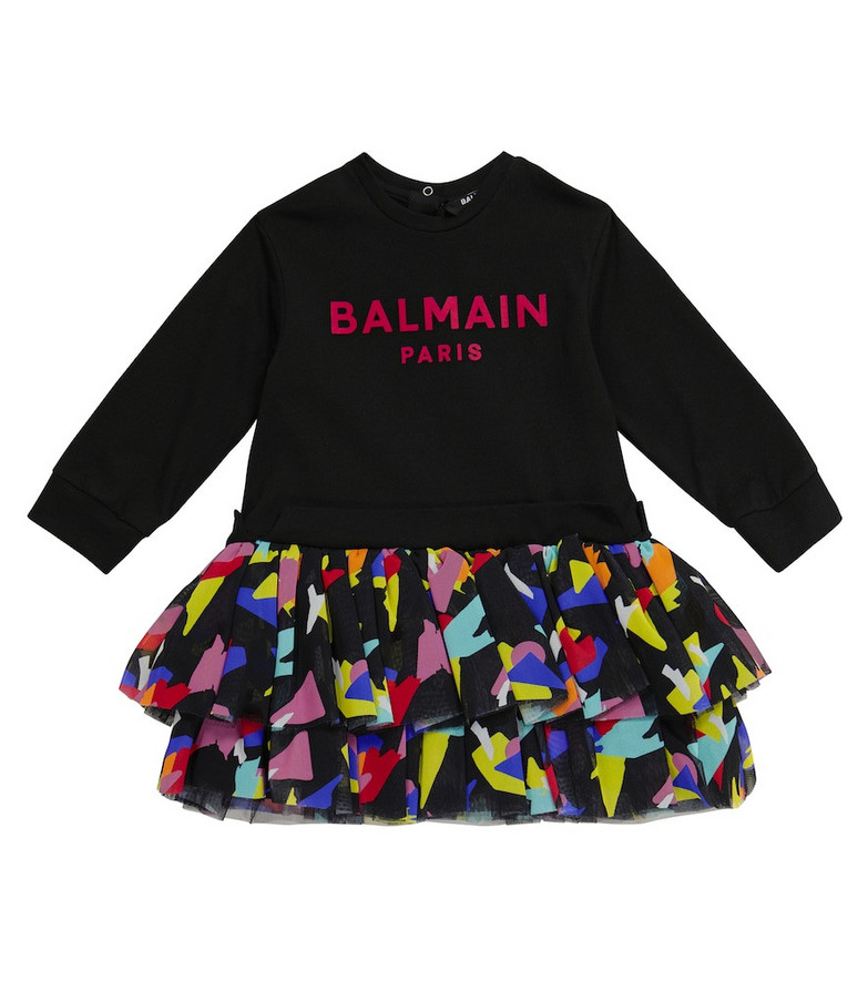Balmain Kids Baby cotton and tulle dress in black