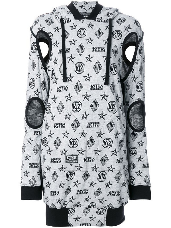 KTZ logo embroidered sweater dress in grey