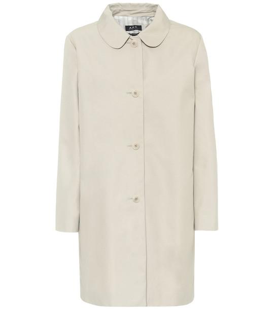 A.P.C. Cotton-blend twill coat in beige