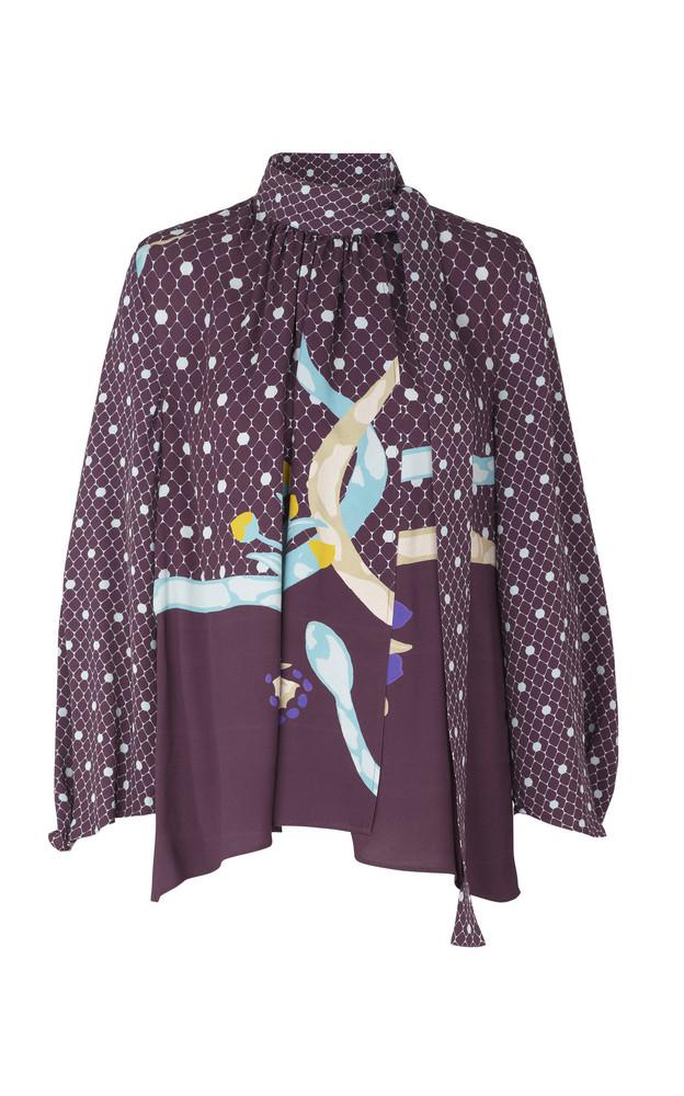 Stine Goya Azalea Tie-Detail Printed Crepe Top Size: XS in purple