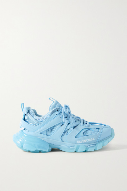 BALENCIAGA - Track Logo-detailed Mesh And Rubber Sneakers - Blue