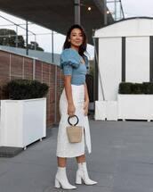 top,white boots,heel boots,ankle boots,midi skirt,white skirt,slit skirt,high waisted skirt,handbag