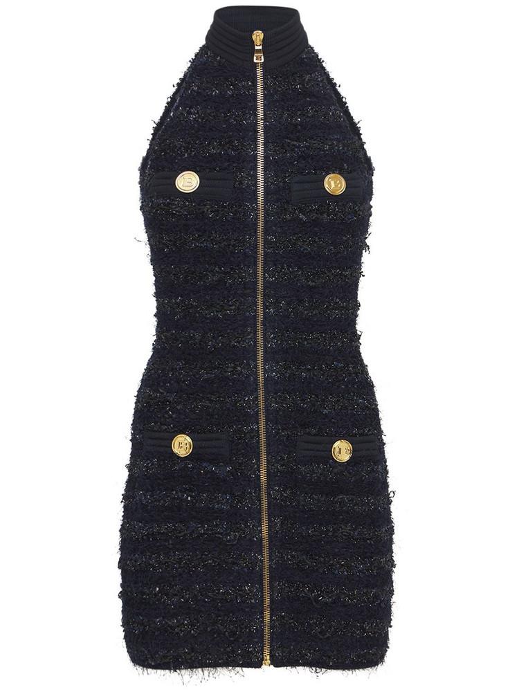 BALMAIN Tweed Sleeveless Zip Up Mini Dress in navy