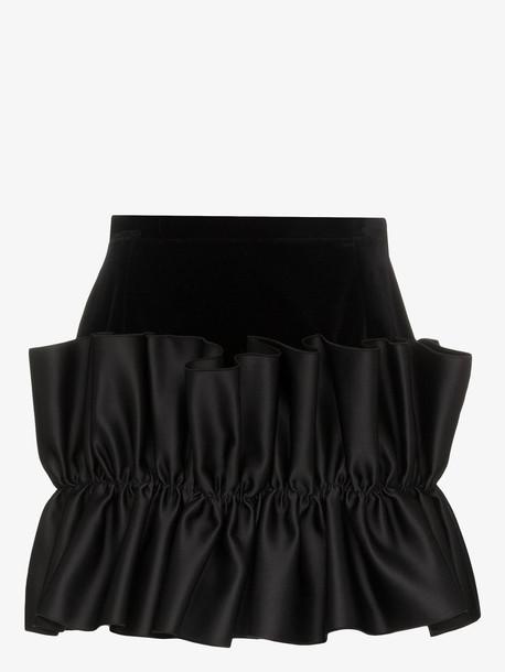 Christopher Kane frill trim velvet mini skirt in black